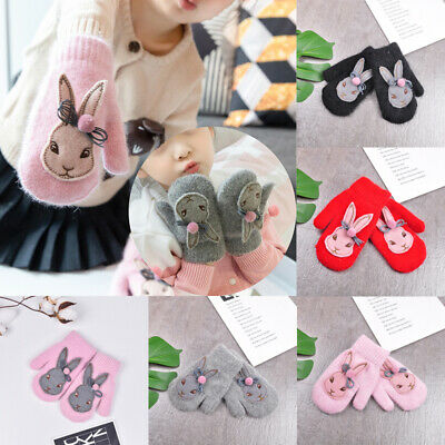 Cute Kids Gloves & Mittens Knitted Winter Warm Full Finger Gloves For Girls Boys