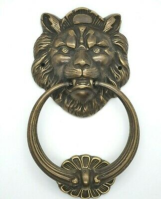 DOOR KNOCKER LION'S HEAD LARGE SOLID BRASS HEAVY DUTY 210mm