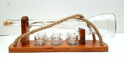 Wooden stand with Gun shaped bottle & 6 shot glasses , home decoration