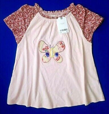 Next Girls Pink T Shirt Age 4 5 6 Years Floral Tunic Top Patchwork Butterfly NEW