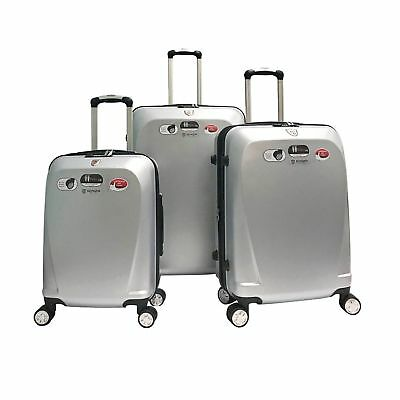 3 PCS Silver Travel Luggage Set Polycarbonate Spinner Hardshell Lightweight Bag