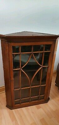 Antique Rustic Astral Glazed Corner Cabinet Wall Hung Or Freestanding