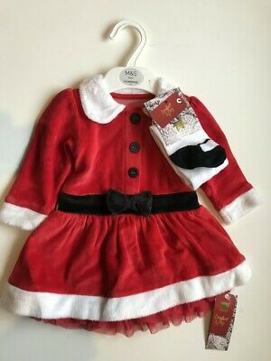 M&S Marks +Spencer baby girls santa christmas dress velour + tights age0-3 month