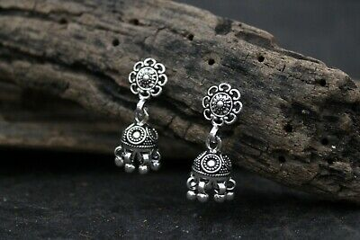 Solid 925 Sterling Silver Round With Oxidized Work Jhumki Style Womens Earring