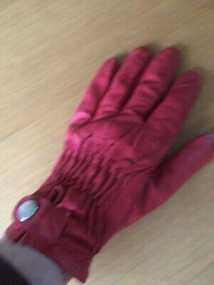 Vintage red leather driving gloves. Made for Pauline Mayman