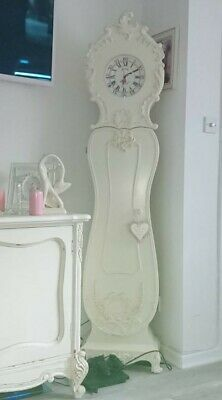 gorgeous ornate french style  shabby chic grandmother clock with storage
