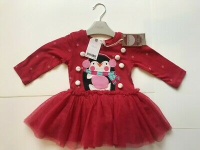 Baby Girls Christmas Dress NEXT SIZE 3-6Months Red Festive Outfit Penguin RRP£19