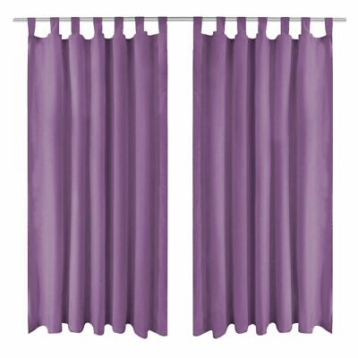 vidaXL 2x Micro-Satin Curtains with Loops 140x245 cm Lilac Window Drapes Home#