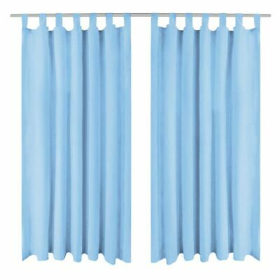 vidaXL 2x Micro-Satin Curtains with Loops 140x245 cm Turquoise Window Drapes#