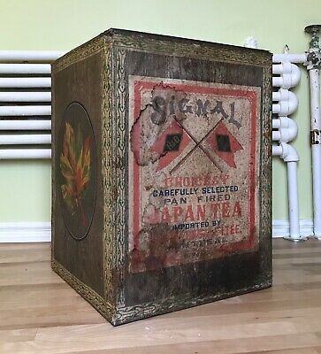 Antique Large Tin Japanese Signal Tea Box, Imported by H&O, Montreal, RARE