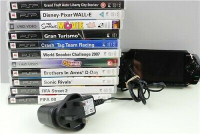 Sony Playstation Portable PSP Console, Charger, 10 Games and 1 DVD Bundle