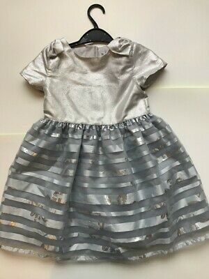 Tu Kids girls silver sparkly party dress Princess Christmas aged 5-6Years RRP£29