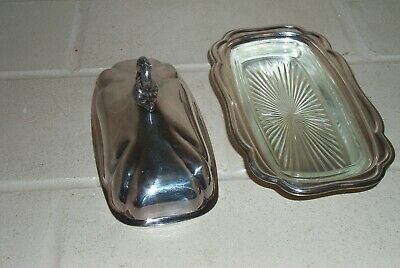 Vintage Guildcraft Silversmith Silver Plate Butter Dish With Glass Insert