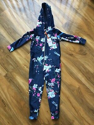 BNWT TED BAKER girls 7-8 YEARS NAVY BLUE FLORAL PRINT ONE PIECE