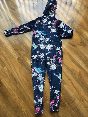 Nwot TED BAKER girls 11-12 YEARS NAVY BLUE FLORAL PRINT  all in one seeping suit