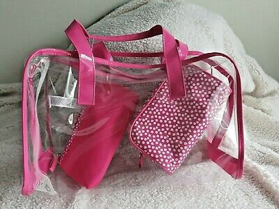Marks & Spencer's 3 Wash / Toiletry Bag Pack BNWT Pink  / Transparent Xmas Gift?