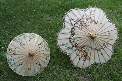 2 Antique Chinese Parasol Butterfly Rice Paper & Bamboo Asian Vintage Umbrella