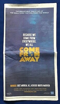Iconic New York Times Collectble FULL PAGE COLOR AD Broadway COME FROM AWAY 2018