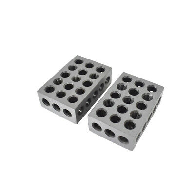 "1 PAIR 123 BLOCKS 1-2-3 ULTRA PRECISION .0002 HARDENED 23 HOLES 0.0002"" New"