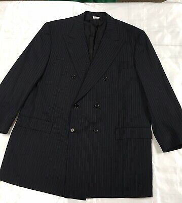 Excellent Double Breasted Brioni Navy Blue Wool Suit Handmade Italy 48L