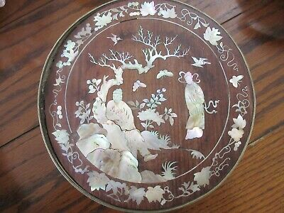 Antique Chinese Mother of Pearl Inlay Wooden Box /w Bronze Rim
