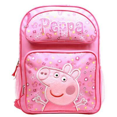 """Peppa Pig 16"""" Large Backpack Bag Pink Licensed New with Tags Authentic"""