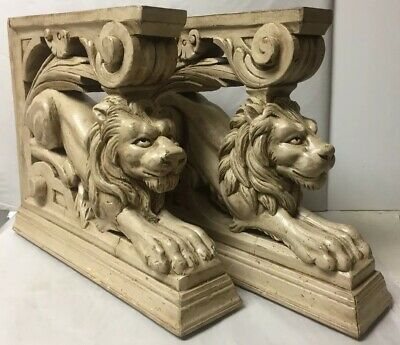 Pair Of Antique Carved Wood Architectural Lions Corbels Brackets Posts Statues