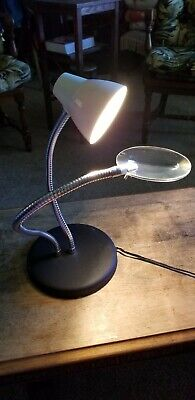 Big Eye Double Arm Gooseneck Table Lamp with 2X Magnification