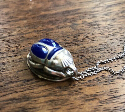 Antique Egyptian Revival Hieroglyphs Sterling Blue Silver Scarab Beetle Pendant