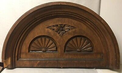 Antique Carved Wood Scalloped Arch Pediment Architectural Salvage