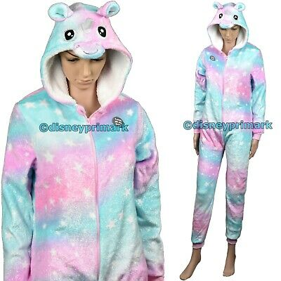Glitter UNICORN ONESY Shiny Rainbow Hooded Warm Fleece Pyjama Sleepsuit Pajamas