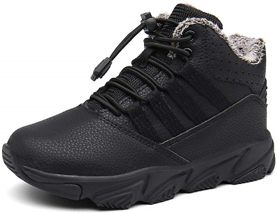 Boys Ankle Boots Waterproof Girls Sneakers Fur Lined Kids Warm Trainers Toddler