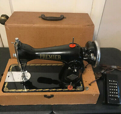 VINTAGE Electric PREMIER Deluxe 1952 SEWING MACHINE w/ CASE And Pedal  CLEAN !!