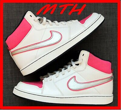 Pink Nike Girl Hi top Leather Trainers size UK 4 Pink White VGC
