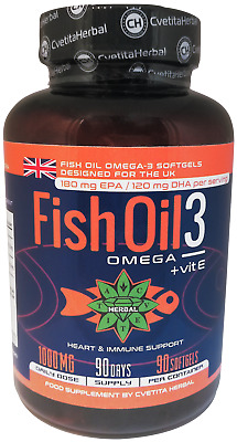 90 Softgels FIsh Oil Omega-3 Improves Vision Sleep Concentration Recovery Immune