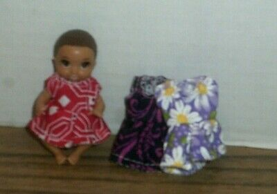 "Handmade Doll clothes-fits Barbie Baby 3"" Doll-3-dresses-Red/Vine/Floral"