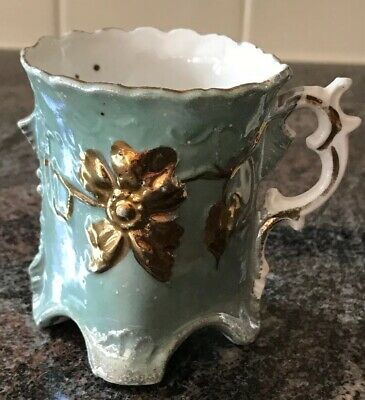 1800s Antique Victorian Light Teal Gold Accented Cup Porcelain Gorgeous Exc