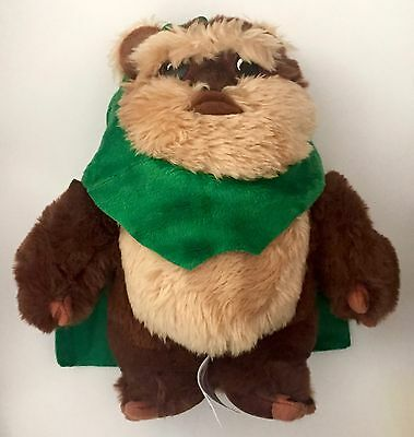 "Disney Star Wars 9"" Wicket Ewok Green Hood Scarf Endor Plush Bear Authentic Rare"
