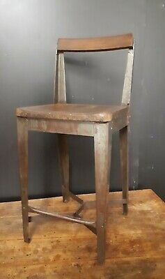 Industrial factory iron and beech 1930s bench stool
