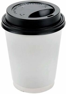 8 oz Disposable Paper Coffee Cups with Free Lids Tea,  Hot Beverages,Cold Drinks