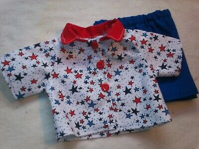 "Patriotic Flag Shirt /& Denim Cuffed Shorts fits 18/"" American Girl Doll Clothes"