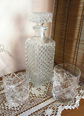 VINTAGE CRYSTAL CUT GLASS WHISKY DECANTER and 2 X CRYSTAL GLASS WHISKY TUMBLERS