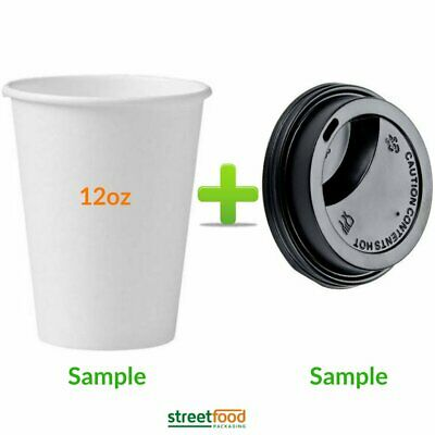 12 oz Double Wall Paper Cups with Black sip Thru lids Disposable Takeaway Coffee