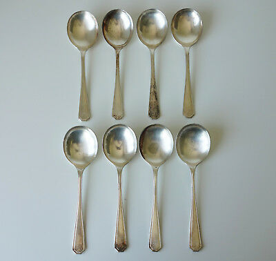 Set of 8 Insignia Plate EPNS A1 Monogram Silver Plated Soup Spoons - Tarnished