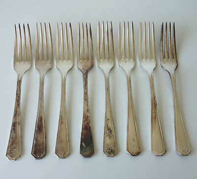 Set of 8 Insignia Plate EPNS A1 Monogram Silver Plated Dinner Table Forks