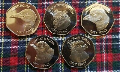 🇦🇨FALKLAND ISLANDS🇦🇨 50p Fifty Pence Penguin 🐧 UNC 1018 Coin Set Collection