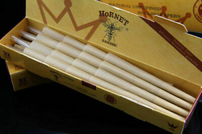 32 Pre-Rolled cones made of natural organic hemp and unrefined, size 1 1/4