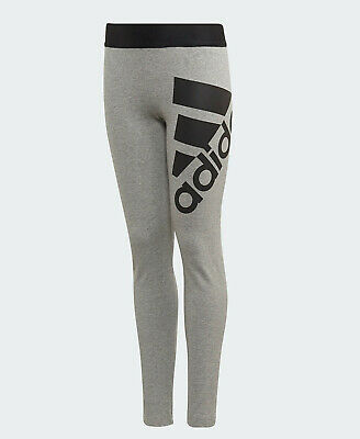 Girls ADIDAS Leggings Grey Must Haves Badge of Sport age 9 - 15 kids NEW RARE