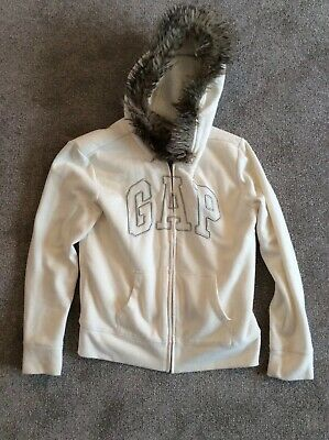 GAP Kids Girls Age 13 Hooded Fleece Lined Ivory White with Silver Logo
