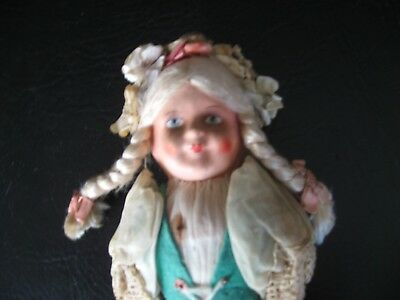 """PAPER MACHE FACE/STRAW BODY DOLL 1900's CABINET SIZE 9"""""""